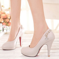 New arrival high-heeled single shoes all-match rhinestone work shoes for women women's plus size shoes in 2013 free shipping