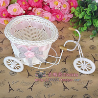 Aesthetic rattan bicycle flower basket car props photo props photography props