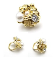 40PCS/LOT!!!Free Shipping!JZ012!Korean Fashion Rings Metal Rose Flower Pearl Temperament Opening Ring JEWELRY