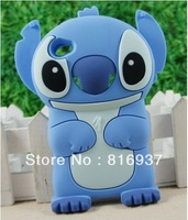 Free Shipping!!3D Blue Lilo Stitch Movable Cute Cartoon Silicone Cover Case for iPod Touch 4 4G New Movable Ear Flip