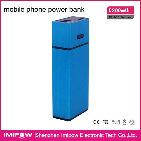 High Quality IM-603 5200mAh power bank 18650 with2 led light for iPhone Free Shipping(China (Mainland))