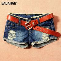 HOT pluse size 25-36 dark color hole roll up hem roll-up hem basic flash denim shorts women's jeans shorts (Belt EXCLUDE!)