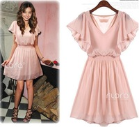 Free shipping new women fashion batwing sexy dresses a line evening chiffon euro big brand dresses