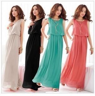 2014 New Women  Bohenmia Pleated Wave Lace Strap Princess Chiffon Maxi long dress 5 Colors Hot Sell FREE SHIPPING