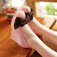 Plus size women's shoes 40 - 43 small 32 - 33 sweet bow high-heeled wedges spring and autumn women's shoes