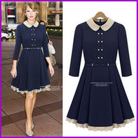 2013 spring European style three-quarter sleeve trench dress ladies dress style peter pan collar dresses with belt
