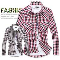 New Arrival Classic Quality Shirt Plaid Dress Shirt Fashion Mens Long Sleeve Shirt Free Shipping SL13032804