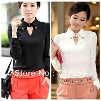 Wholesale New Fashion 2013 1PC Women Black&White OL Shirts Lapel Keyhole Chiffon Regular Blouses Tops 651310