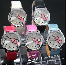 HOT SELL Fashion hello kitty watches ladies leather watches 5 colors classic women gift Free Shipping High Quality(China (Mainland))