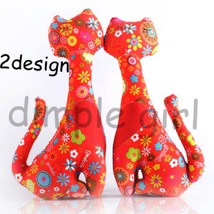 chinese style floral print handmade stuffed cat cloth doll wedding gift desk decoration valentine birthday idea on aliexpress(China (Mainland))