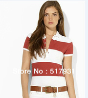2013 New fashion brand t shirt  for women  polo long sleeve striped shirt women  Wholesale size S-XXL FreeDrop shipping