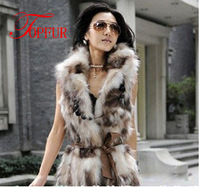 real fox fur vest women's GenuineFox fur coat outerwear real leather jacket Free shipping EMS TF029
