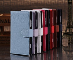 Low price Litchi Magnetic Clasp Card Wallet PU Leather Flip Case Cover for Nokia Lumia 920, Cell Phone Accessories Free Shipping(Hong Kong)
