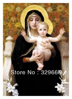 "Free Shipping (1 piece/pieces) Giclee Printed Canvas William Adolphe Bouguereau Oil Painting ""The Virgin of the Lilies"" Scenery"