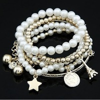 Free shipping valentine's day Gift Ladies Fashion White Pearl Eiffel Charm Multilevel Bracelet Bangle