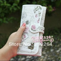 The new high quality bear print  female long zipper wallet,Vintage wallet.