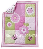 Baby girls' cotton quilt pink flowers design size 106.7*83.8cm super quality boy's gift