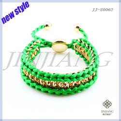 FreenShipping(more than10pcs)Trendy fashion jewlery new style Alloy colorful friendship braided bracelet(China (Mainland))