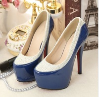2013 japanned leather colorant match rhinestone wedding shoes round toe platform high heel red sole bridal shoes princess