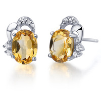 Natural Semi-precious Stone jewelry 925 Sterling silver natural Citrine stud earring Birthstone Gift se0025c