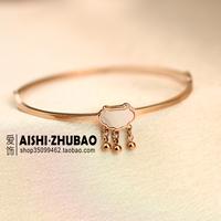 Free Shipping New year gift lucky shell longevity lock bracelet 18k rose gold female titanium hand ring
