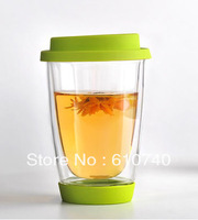 Double Wall Glass Coffee Cup with silicon lid and base Mug,Teacup 350ml ,2pcs/lot,NESPRESSO mug,Thermo Glass Cups ,Free shipping