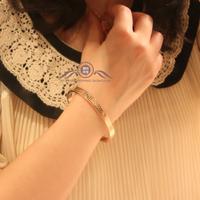 Free Shipping Elegant fashion elegant crocodile pattern rose gold lovers bracelet 18k titanium color gold bracelet hand ring