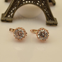 Free Shipping 2013 Fashion Earring For Women Inlaying Czech Crystal Hearts And Arrows Earring Rose Gold Color Earring