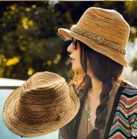 Fashion Women Men Straw Braid Fedoras Jjazz Hat Cap Beach Cap Sun Hat hat summer beach straw hats, free shipping