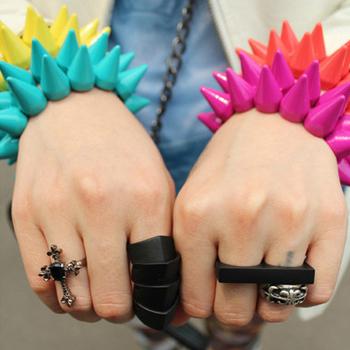 2013 Hot Sale  Fashion Punk Kolkatan 's Quality Color Block Double Neon Color Rivet Bracelet  Multicolor