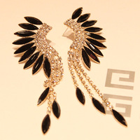 Pl423 Women's Earrings Fashion Baroque Sparkling Wings Gold Plated Peacock Dancing Crystal Stud Earrings Free Shipping