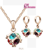 Free Shipping Wholesale Austrian Element Crystal 18K GP Happyness Cubic Ball Charm Drop Earrings crystal Jewelry set Gold 4325