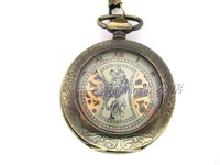 2014 stem-winder  Vintage exquisite carved crystal mechanical watch necklace pocket watch rahb709b  Free shipping