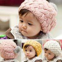 2014 New Fashion Beautiful Rabbit Fur Ball Baby Knitted Beanie Hats Kids Earflap Caps Child Pocket Hats Girls Skullies Skullcap