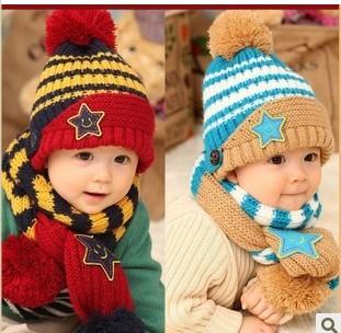 2014 Fashion New Winter 5-Star Children Skullies & Beanies Scarf Hat Set Baby Boys Girls Knitted kids Hats & Caps Free shipping