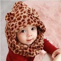 2014 new fashion autumn & winter leopard print baby beanie & scarf sets children pocket hats girls & boys  siamese caps