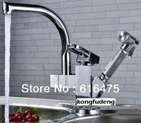 360 degree Swivel Kitchen Faucet Pull Out Polished Chrome Basin Mixer Brass Tap Hot Sell !!!