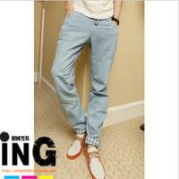 Men's 2012 slim jeans trousers water wash jeans splash-ink drawstring male jeans