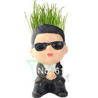 DIY gift Gangnam style uncle Magic Grass Plant Pot Grass Head Doll Toy gift in offce computer