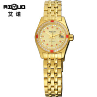 Years mechanical female form vintage rhinestone women's watch full gold table lovers design