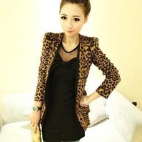2012 spring fashion shoulder pads suede fabric leopard print small suit jacket