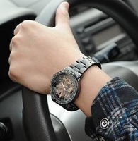 Fully-automatic mechanical watch double faced perspective mechanical mens watch male commercial watch