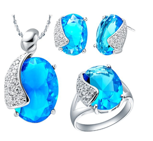 free shipping ! zircon series jewelry Sapphire blue water drop shape plating 18k platina / fashion jewelry set LZ-6(China (Mainland))