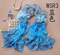 2013 spring and autumn chiffon women's long silk scarf summer sun cape rose