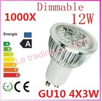 1000pcs Dimmable GU10 4X3W 12W 4-CREE LEDS Led Lamp Spotlight 85V-265V Led Light downlight High Power free shipping