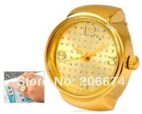 NEW Quartz Movement Analog Finger Classic Ring Watch with 18K Plated Alloy Strap (Gold). wristwatches+free shipping