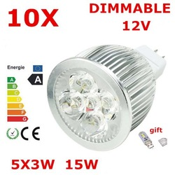 10X High power CREE MR16 5X3 15W 12V Dimmable Light lamp Bulb LED Downlight Led Bulb Warm/Pure/Cool White Energy Saving(China (Mainland))