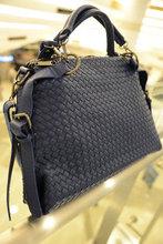 Free shipping Spring woven bag fashion brief one shoulder casual cross-body bag big bag women's handbag(China (Mainland))