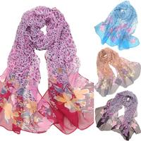 Leopard print thin scarf faux silk scarf georgette Women long cape