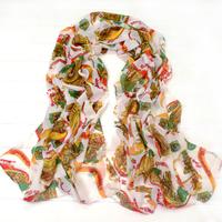 2013 women's lengthen scarf fashion print velvet chiffon silk scarf muffler scarf